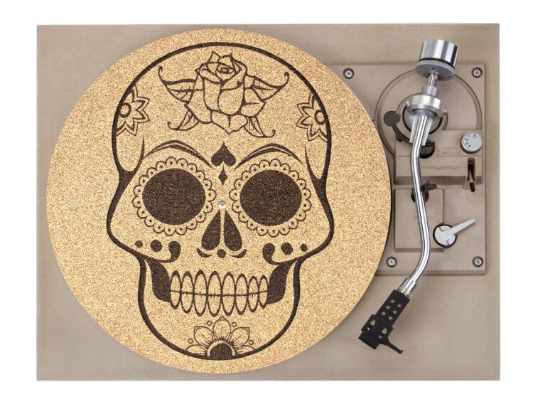 Skull Cork Platter Mat Record Player